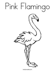 Pink Flamingo Coloring Page from TwistyNoodle.com