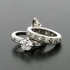 These Are Miniature Rings To Wear A Charm Bracelet They Represent Tiny Engagement Ring And Wedding Band With Real Diamonds Perfect Token Or Sweet