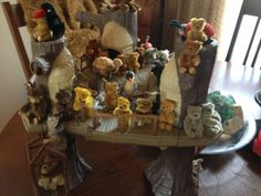 My Schuco piccolos and Noah's Ark animals from the 1920's-50's playing in an Ewok treehouse!