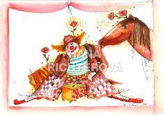 klaun a kůň