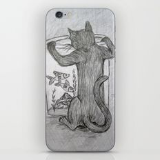 Curious Cat and the Goldfish Drawing iPhone & iPod Skin
