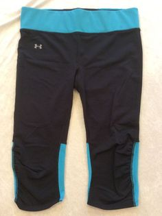 Under Armour Crops Capris Large Compression Heat Gear Running Turquoise Black #UnderArmour #PantsTightsLeggings