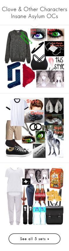 """""""Clove & Other Characters Insane Asylum OCs"""" by dappershadow ❤ liked on Polyvore featuring Happy Socks, John Smedley, Toni&Guy, YOHJI YAMAMOTO POUR HOMME, Topman, Quiksilver, Converse, American Apparel, Hot Topic and The Cambridge Satchel Company"""
