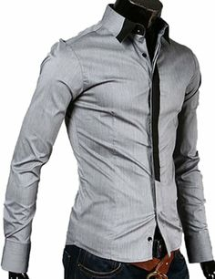 Mens Casual Slim Fit Dress Shirts Long Sleeve Blouse (US Size: L(Tag size:XXL), gray) TRURENDI, To SEE or BUY just CLICK on AMAZON right here http://www.amazon.com/dp/B00J8CHSH4/ref=cm_sw_r_pi_dp_oMeDtb1SGBZJA2NE