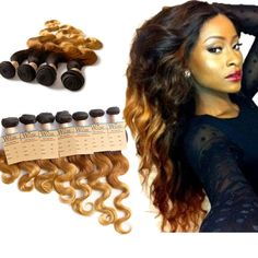 UK Ombre Brazilian 3Tone 1B/33/27 Wavy Human Hair Extensions 3Bundles 16 18 20  For UK People.Save GBP5 For Every 100 http://www.ebay.co.uk/sme/mysunday668/offers.html