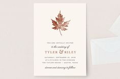 """Leaf Print"" - Rustic, Simple Wedding Invitations in Rust by Katharine Watson."
