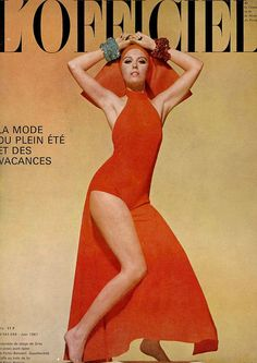 Model by Grs.Cover photographed by:Jean-Louis Guegan.French Fashion Magazine:L'Officiel,June 1967.