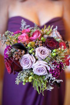 winter bouquet, beautiful! check out those calla lilies, deep deep purple