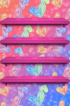 Wallpaper Shelves, Ipod Wallpaper, Glitter Wallpaper, Heart Wallpaper, Screen Wallpaper, Phone Backgrounds, Wallpaper Backgrounds, Iphone Wallpapers, Heart Shelf