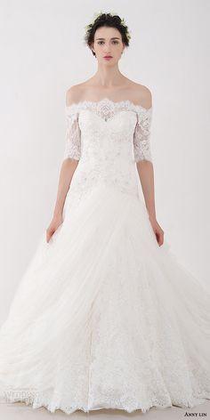 anny lin bridal 2016 castalia off shoulder romantic wedding dress half sleeves lace neckline zoom