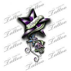 Nautical Star for my partner and 2 children custom tattoo | new3 #58601 | CreateMyTattoo.com