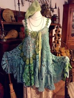 Luv Lucy crochet dress Lucy's Tahitian Sea by TheVintageRaven, $195.00