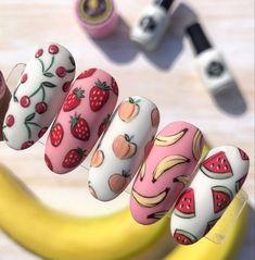 Fruit Nail Designs, Cute Acrylic Nail Designs, Watermelon Nail Designs, Summer Acrylic Nails, Best Acrylic Nails, Matte Nail Art, Pastel Nails, Fruit Nail Art, Watermelon Nails
