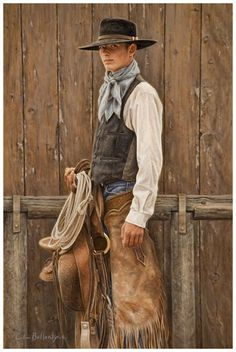 Buckaroo GQ - Oil painting by Carrie Ballantyne x - The Great Plains buckaroos have always had a stylish flair in their particular attire and gear. Cowgirl And Horse, Cowboy Art, Western Hats, Western Cowboy, Western Wear, Traje Cowgirl, Cowgirls, Westerns, Cowboy Pictures