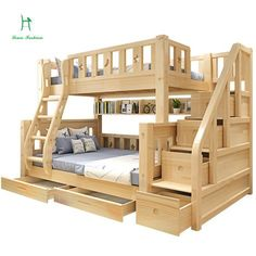 Online Shop Louis Fashion Children Bunk Bed Real Pine Wood with Ladder Stair Drawers Safe and Strong Bunk Bed Rooms, Bunk Beds With Stairs, Kids Bunk Beds, Corner Bunk Beds, Childrens Bunk Beds, Kids Furniture, Bedroom Furniture, Furniture Makeover, Office Furniture