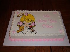 Actually a baptism cake - Did this little Precious Moments Angel for a baptism cake.
