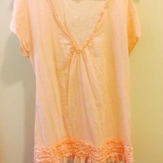 J. Crew Coral Bikini Beach Ruffle Cover Up Super cute and only worn a couple times!! Ruffle edges on v neck line and around bottom:) J. Crew Dresses