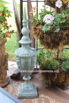 Add to Your Outdoor Space using an Old Lamp base, a finial, and paint.