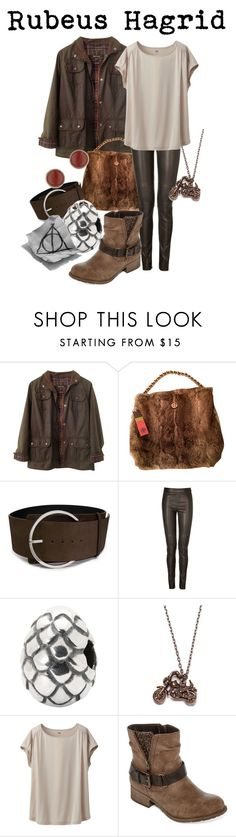"""""""Rubeus Hagrid"""" by disneyandsuch ❤ liked on Polyvore featuring Barbour, Tory Burch, COSTUME NATIONAL, Neil Barrett, Trollbeads, We Are All Smith, Uniqlo, POP, Topshop and MagicMondays"""