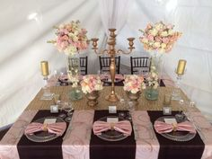 Pink, Gold  Brown Tablescape  - Grand Event Rentals at Weddings In Woodinville http://www.grandeventrentalswa.com/