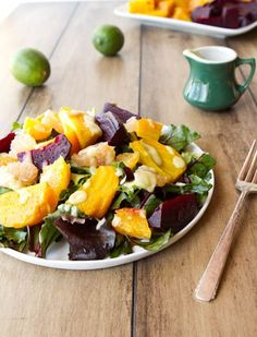 Citrus Beet Salad with Creamy Avocado Lime Dressing and Arugala Salad w Lemon Parm Dressing