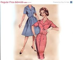 SALE Vintage 1950s Sewing Pattern - Full or Slim Skirt Step-In Dress with Unusual Button Tab Collar - Butterick 9735, Size 18.5, Bust 39