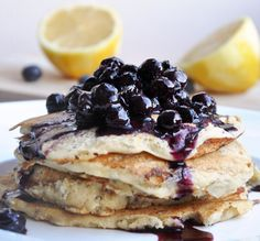 Whole wheat lemon ricotta pancakes with blueberry topping