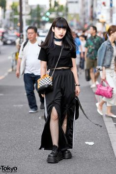 Harajuku Girl in Dark Street Style w/ Fishnets, Kawi Jamele Checkered Purse & Demonia Platforms