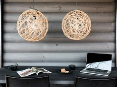 Bring graphic shape and organic texture to any room with pendant lighting made from rope, craft glue and an inflatable ball. Get the step-by-step instructions >>