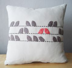 Sukan / Birds Linen Pillow cover - 14x14 inch -  Beige, Dirty Brown, Coral. $55.50, via Etsy.