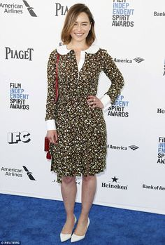 Not her best look: Emilia Clarke wore a print dress with white collar to the Independent S...