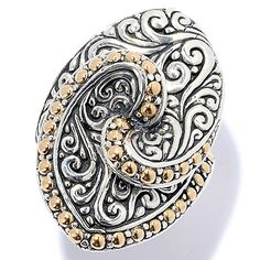 149-978 - Artisan Silver by Samuel B. 18K Gold Accented Scrollwork Marquise Ring