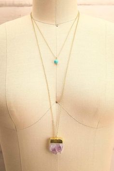 AMETHYSTUS - Gold chain pendant, turquoise stone and am...