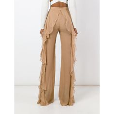 Balmain sheer palazzo trousers (12.095 BRL) ❤ liked on Polyvore featuring pants, high-waisted palazzo pants, white high waisted trousers, high waisted trousers, high waisted white pants and white sheer pants
