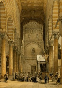 Roberts, David (1796-1864) - The Holy Land 1855, Mosque of the Metwalis - Interior. #egypt