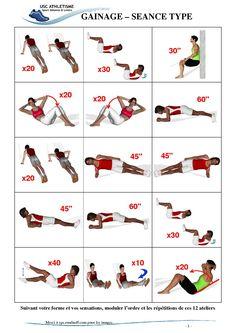 Je vous propose une première série d'exercice de  Gainage.(page 1, sept. 2010)