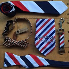 assorted ties and accessories, barber pole inspired