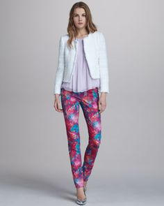 Kidman Open-Front Tweed Jacket, Crinkled Chiffon Tank & Printed Five-Pocket Skinny Jeans by Alice + Olivia at Bergdorf Goodman.