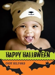 Wish you children's classmates a Happy Halloween with this adorable bat-themed card.