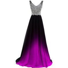 Lemai Women Formal Beaded Gradient Black Ombre Chiffon Long Prom... ($117) ❤ liked on Polyvore featuring dresses, purple chiffon dress, long purple dress, turquoise prom dresses, beaded prom dresses and long chiffon dress