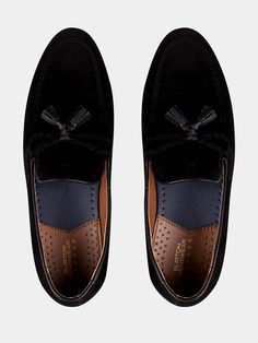 premium selection d9c27 bc98f Black Suede Look Tassel Loafers