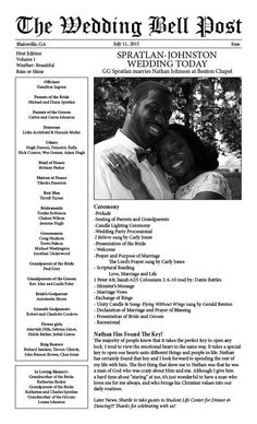 Wedding Program Newspaper Template Mini Newspaper Program - Wedding newspaper program template