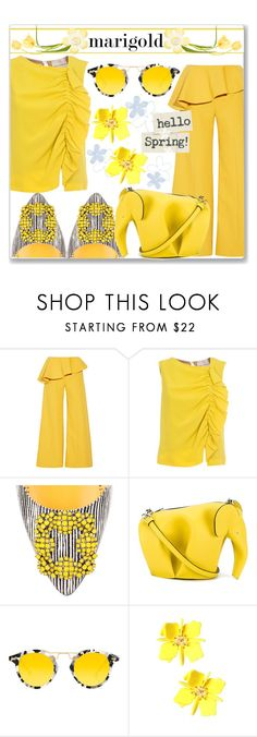 """""""Stay Golden: Dressing in Marigol"""" by slynne-messer ❤ liked on Polyvore featuring Rosie Assoulin, Erika Cavallini Semi-Couture, Manolo Blahnik, Loewe and Krewe"""