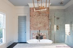 Our vintage modern master bathroom. Modern Master Bathroom, White Bathroom, Small Bathroom, Bathroom Ideas, Contemporary Bathrooms, Bathroom Colors, Bathroom Styling, Bathroom Interior Design, Gold Bad