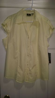 ALC NWT Woman's Plus Yellow Button Snap Front Shirt Size 1X #ALC #ButtonSnapFrontShirt #Casual