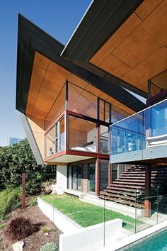 Peregian Beach House Two by Sparks Architects, Australia I'm not a huge modern architecture fan but I DO LOVE THIS! Australian Architecture, Roof Architecture, Residential Architecture, Amazing Architecture, Contemporary Architecture, Modern Buildings, Pavilion, Beautiful Homes, Beach House