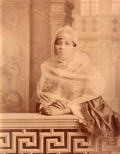 chateauxdanslair:    An albumen print from the 1870's showing a veiled Turkish woman.
