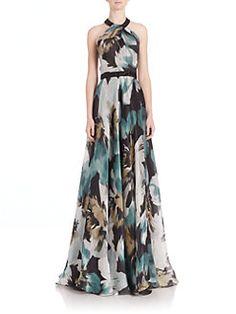 Carmen Marc Valvo - Embellished Floral Silk Gown