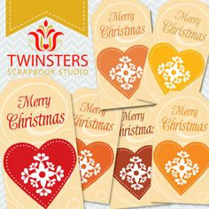 Printable Christmas Heart tags png TW076  Instant by Twinsters, $2.50