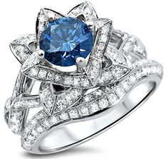 2.05ct Blue Round Diamond Lotus Flower Engagement Ring Set 14k White Gold Front Jewelers http://www.amazon.com/dp/B00M18PBG2/ref=cm_sw_r_pi_dp_M6Waub0RT4988